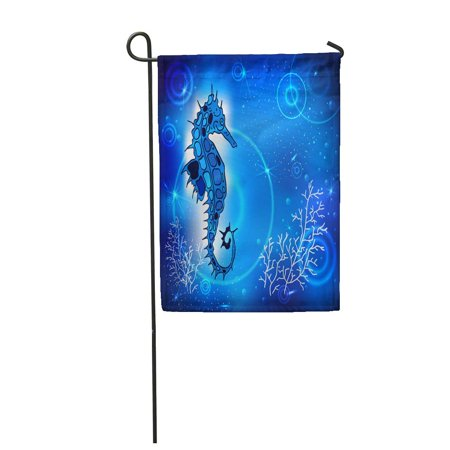 LADDKE Blue Painting Sea Horse of Fish in The Depths and Air Bubbles Tattoo Cartoon ANI Garden Flag Decorative Flag House Banner 12x18 inch - Tattoos Of Fish