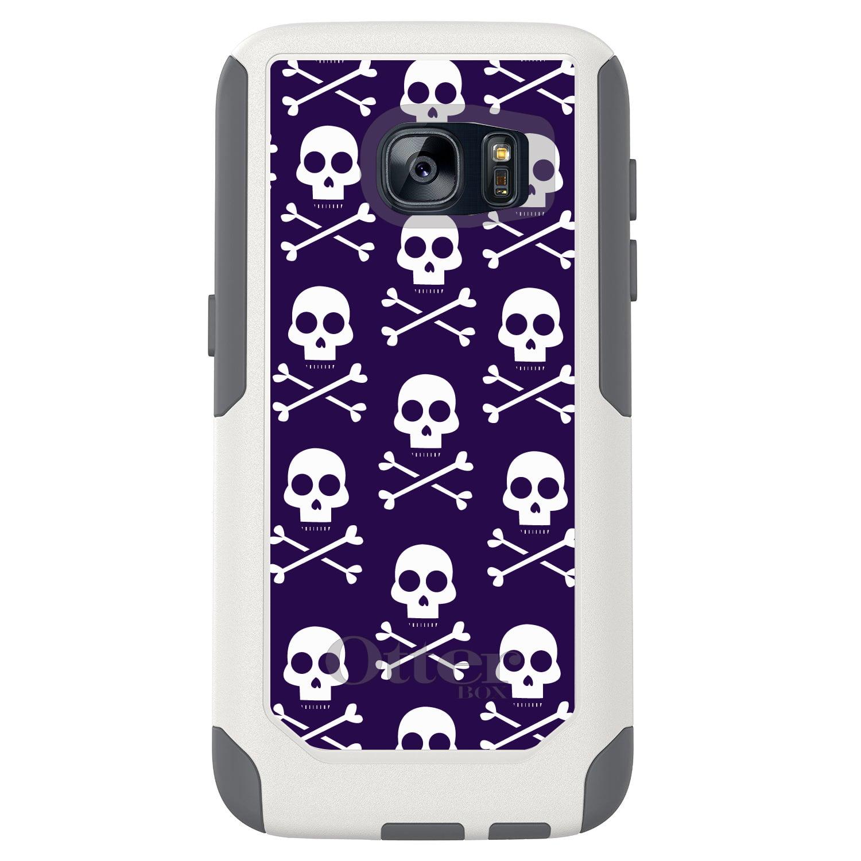 DistinctInk™ Custom White OtterBox Commuter Series Case for Samsung Galaxy S7 - Purple White Skulls Pattern