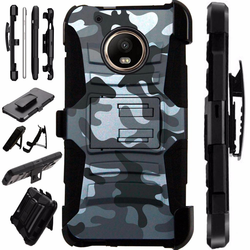 For Moto G5 Plus Case XT1687 Heavy Duty Hybrid Armor Dual Layer Cover Kick Stand Rugged LuxGuard Holster (Gray Camo)