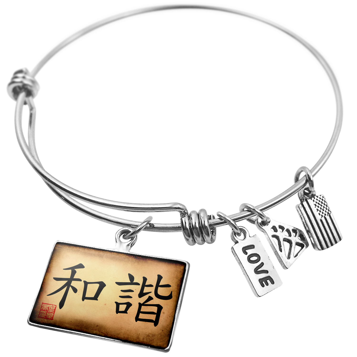 Expandable Wire Bangle Bracelet Chinese characters, letter Harmony - NEONBLOND