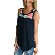 Plus Size Women Floral Print Sleeveless Shirt Tunic Blouse Asymmertrical Hem Summer Beach Party Tops