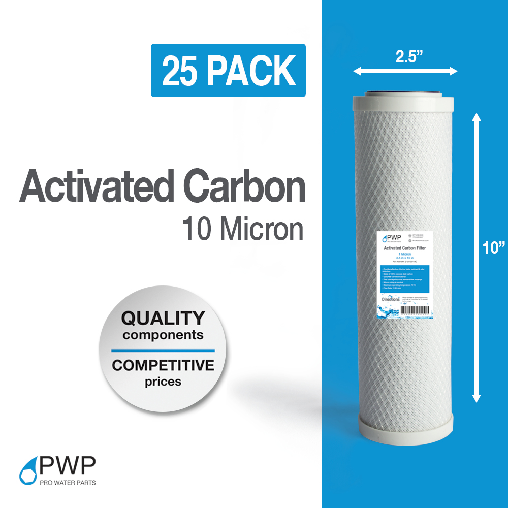 25 Pack Activated Carbon Block Water Filter Cartridge RO CTO 10x2.5 10 Micron