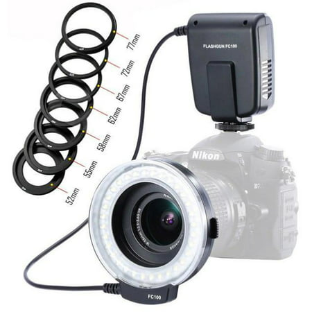 Best LED Macro Ring Flash Light FC-100 for Canon Nikon Pentax Olympus DSLR Camera Camcorder with Adapter Rings Great