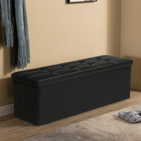 43 X15 X15 Folding Storage Ottoman Bench Faux Leather