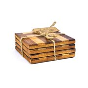 Intrade Global Cabana Handcrafted Wooden Coasters with Intricate Mosaic Designs (Set of 4)
