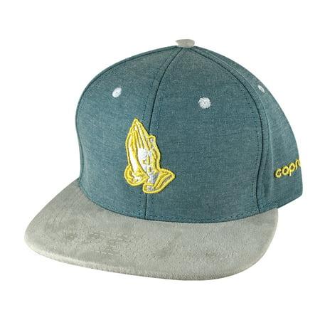 CapRobot Men Pray Hand 3D Denim Grey Suede Visor Snapback Hat Cap - Green Yellow