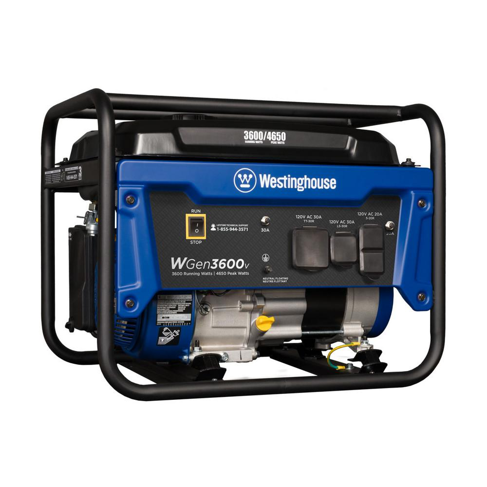 WGen3600v Watt Running 4650 Watt Peak Gasoline Powered Portable Generator with RV Ready TT-30R 30 Amp Receptacle