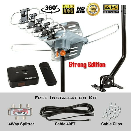Five Star HDTV Antenna Amplified Digital Outdoor Antenna with Mounting  Pole-150 Miles Range-360 Degree Rotation Wireless Remote-Snap-On  Installation