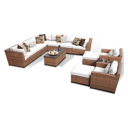 TK Classics Laguna Wicker 13 Piece Patio Conversation Set with 2 Sets of Cushion Covers