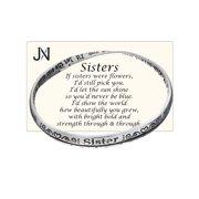 Silver-tone Sisters Twist Bangle Bracelet Prayer Card Included