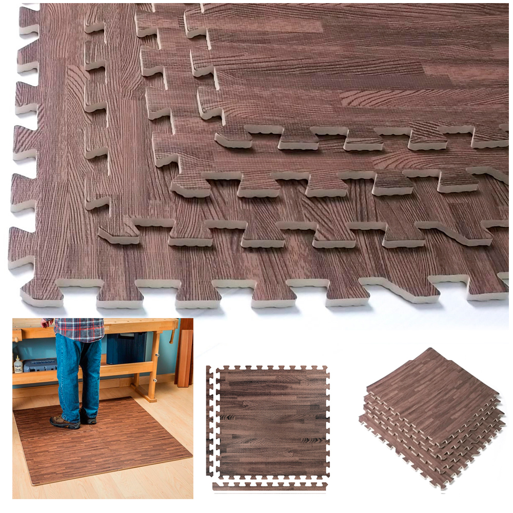 Interlocking Dark Wood Eva Mats Soft Foam Exercise Floor Gym Office Puzzle Tile