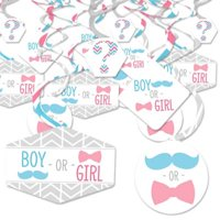 Chevron Gender Reveal - Gender Reveal Hanging Decor - Party Decoration Swirls - Set of 40