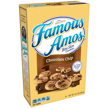 (2 Pack) Famous Amos Bite Size Chocolate Chip Cookies, 12.4 oz Cinnamon Chocolate Chip Cookies