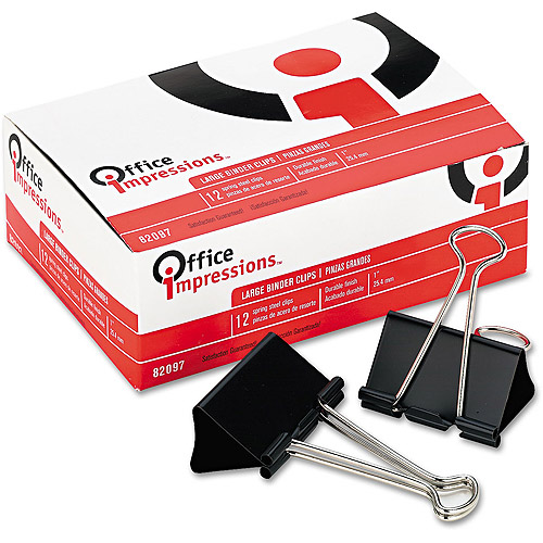 Office Impressions Binder Clips, Large, 12/Pack, 3 Packs