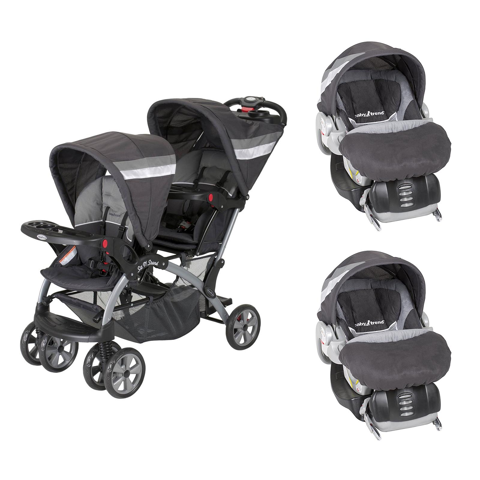 Baby Trend Sit N Stand Double Stroller w  Flex-Loc Car Seat and Car Base (Pair) by Baby Trend