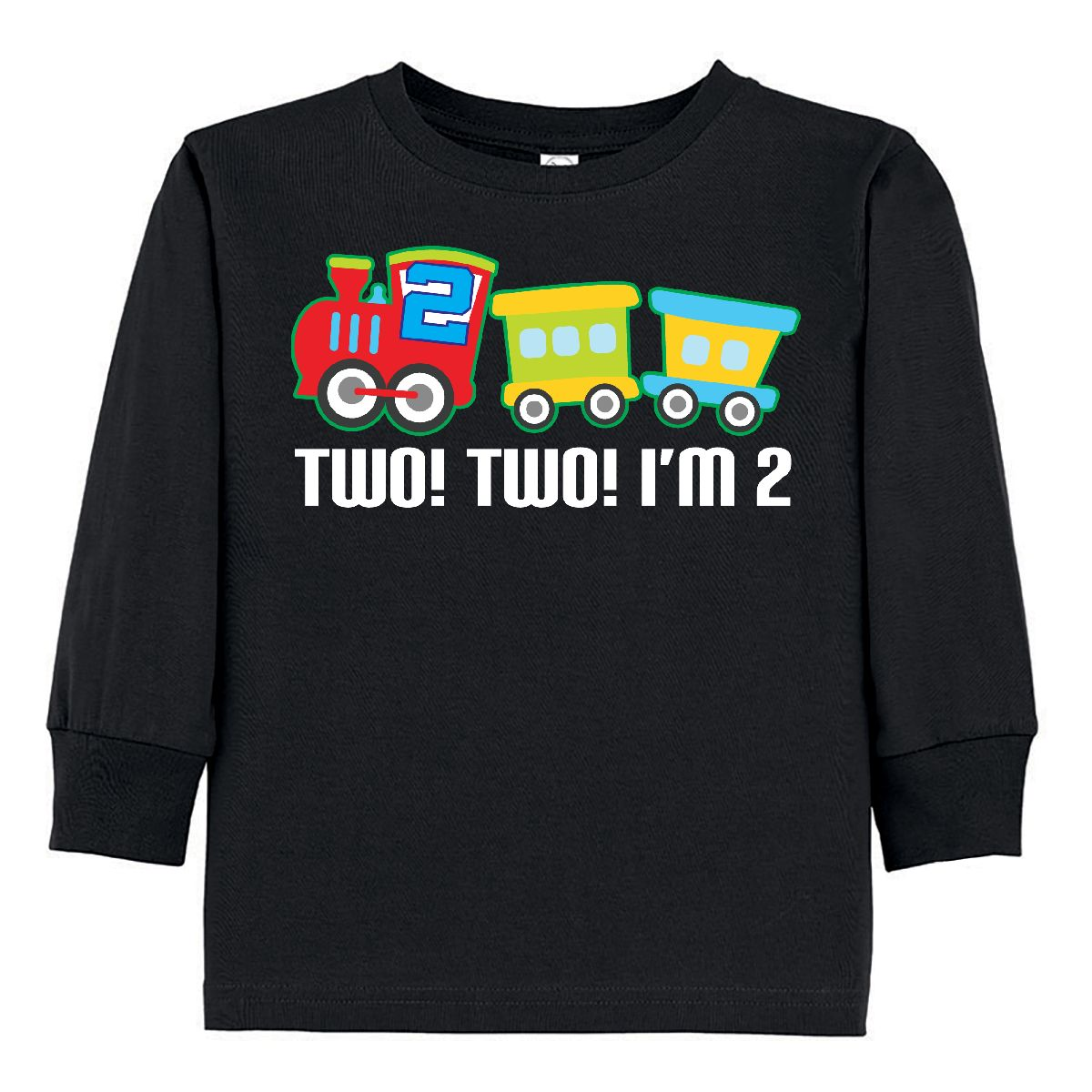 Inktastic 2nd Birthday Two Two Train Outfit Toddler Long Sleeve T-Shirt Second 2