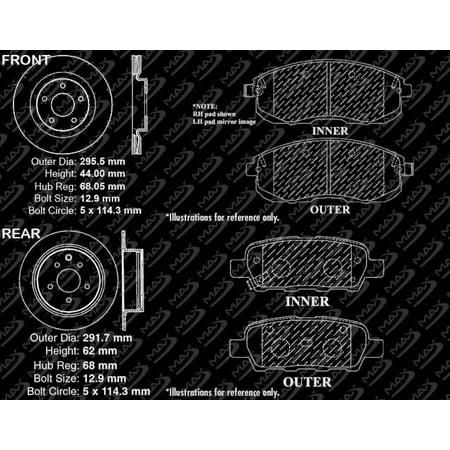 Max Brakes Front & Rear Performance Brake Kit [ Premium Slotted Drilled Rotors + Ceramic Pads ] KT084533 | Fits: 2011 11 2012 12 2013 13 Nissan Juke - image 6 de 8