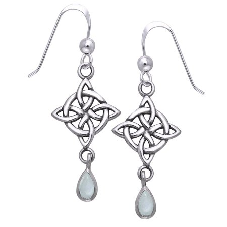 Sterling Silver Four-Point Celtic Knot North Star Earrings with Rainbow Moonstone Teardrops (Rainbow Earrings)