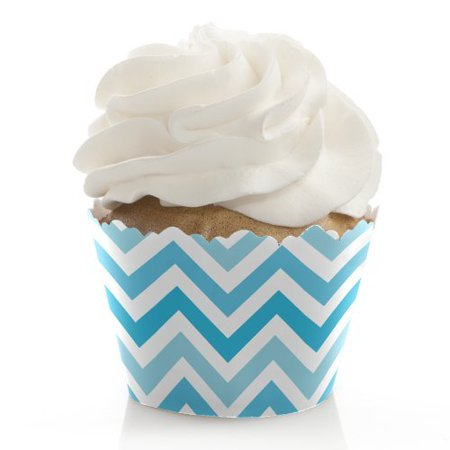 Chevron Blue - Baby, Bridal Shower or Birthday Party Cupcake Wrappers - Set of 12