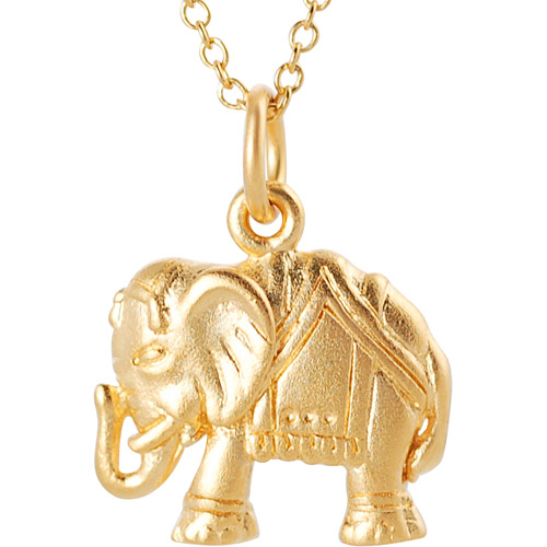 """Brinley Co. 24kt Gold over Sterling Silver Indian Elephant Pendant, 18"""""""