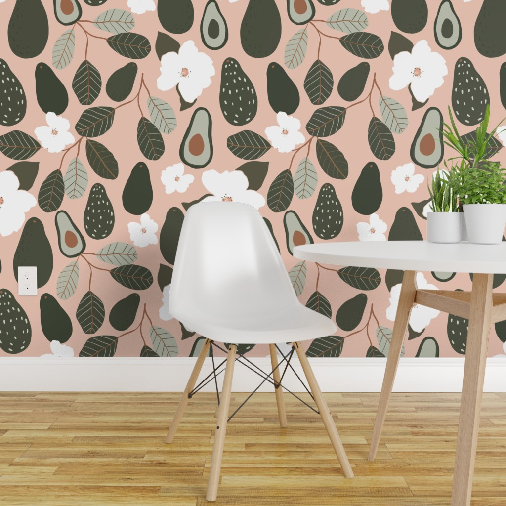 Peel And Stick Removable Wallpaper Avocado Floral Botanical Modern