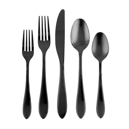 Cambridge Silversmiths Stockton Black Mirror 20-Piece Flatware Set, Service for 4