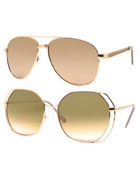 4c4ac3f976b6 Product Image Time and Tru Women s Metal Sunglasses 2-Pack Bundle  Aviator  Sunglasses and Oversized Sunglasses