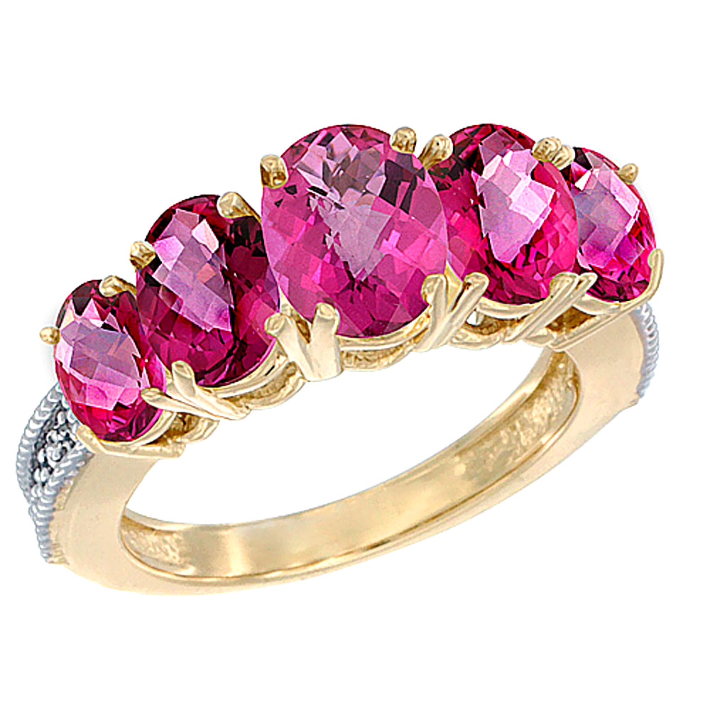 14K Yellow Gold Natural Pink Topaz Ring 5-Stone Oval Diamond Accent ...
