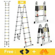 16.4 ft Aluminum Telescopic Extension Ladder, Portable Heavy Duty Multi-Purpose Telescoping Ladder with Hinges,330 Lb Capacity,Convient for Home Loft Office