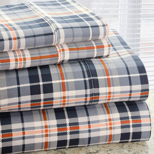 Hotel New York Park Avenue 350 Thread Count Cotton Rich Plaid Printed Sheet Set