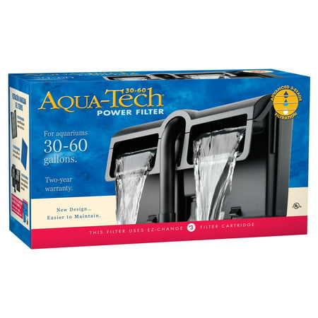 aqua-tech power aquarium filter 3-step filtration, 30-60 gallons ...