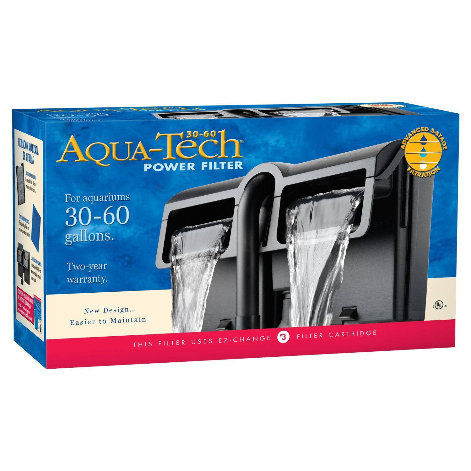 Aqua Tech Power Aquarium Filter 3 Step Filtration, 30 60 Gallons