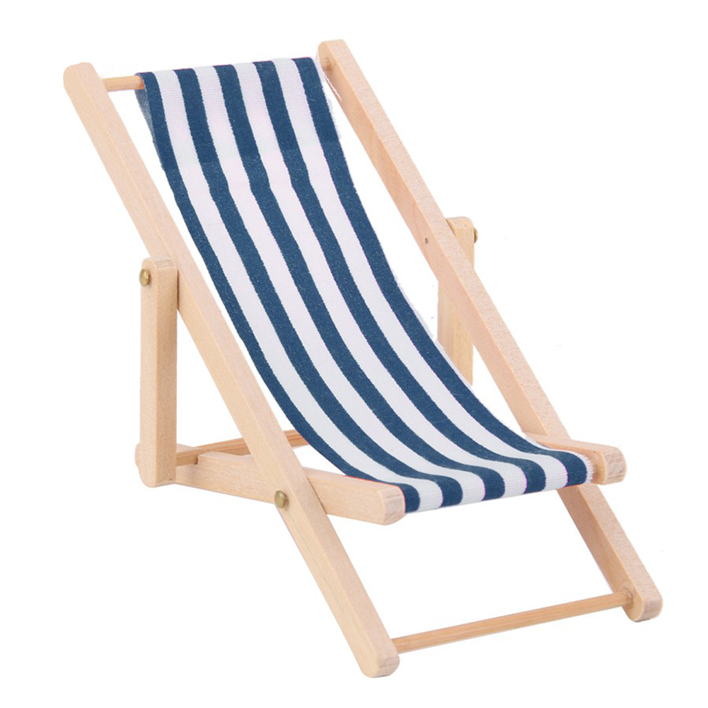 Simulate Recliner Beach Sunbathing Chair Kids Dollhouse Miniature Toy Gift Decoration Color:red