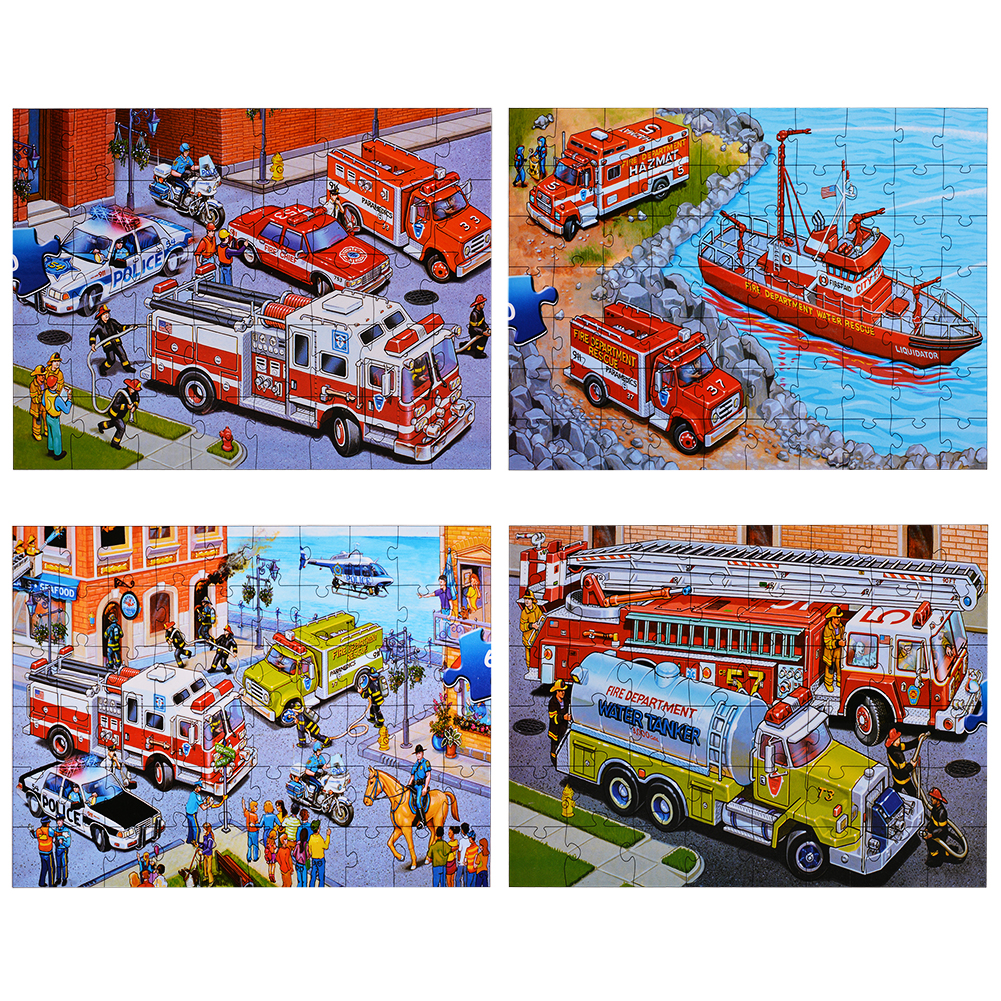 Emergency Vehicles Floor Puzzles Super Puzzle Set (Set of 4 Puzzles) by