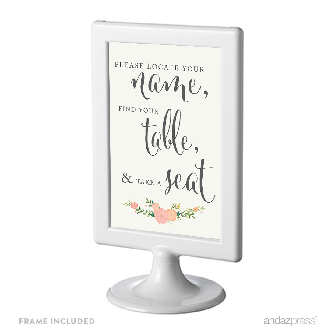 Locate Your Name, Find Table, Take Seat Framed Floral Roses Wedding Party Signs