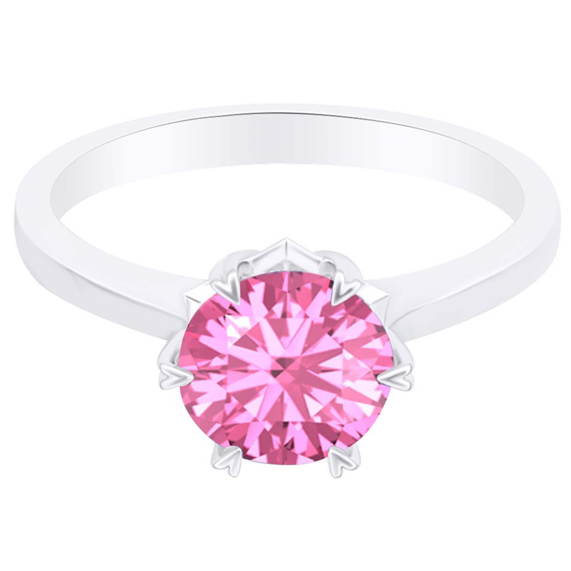 Jewel Zone Us Simulated Pink Tourmaline Heart Pronged