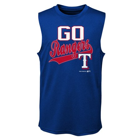 MLB Texas RANGERS TEE Sleeveless Boys Fashion Jersey Tee 100% Polyester Quick Dry Alternate Color Team Tee 4-18 Ranger Baseball Jersey