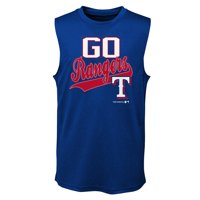 MLB Texas RANGERS TEE Sleeveless Boys Fashion Jersey Tee 100% Polyester Quick Dry Alternate Color Team Tee 4-18
