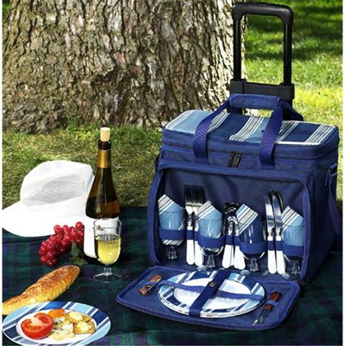 Picnic Ascot 330-AG Aegean Picnic Cooler for 4 on Wheels - Blue-Blue Stripe