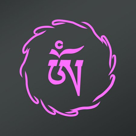 Om Symbol In Tibetan Script Circle Decal Sticker 55 Inches By 55