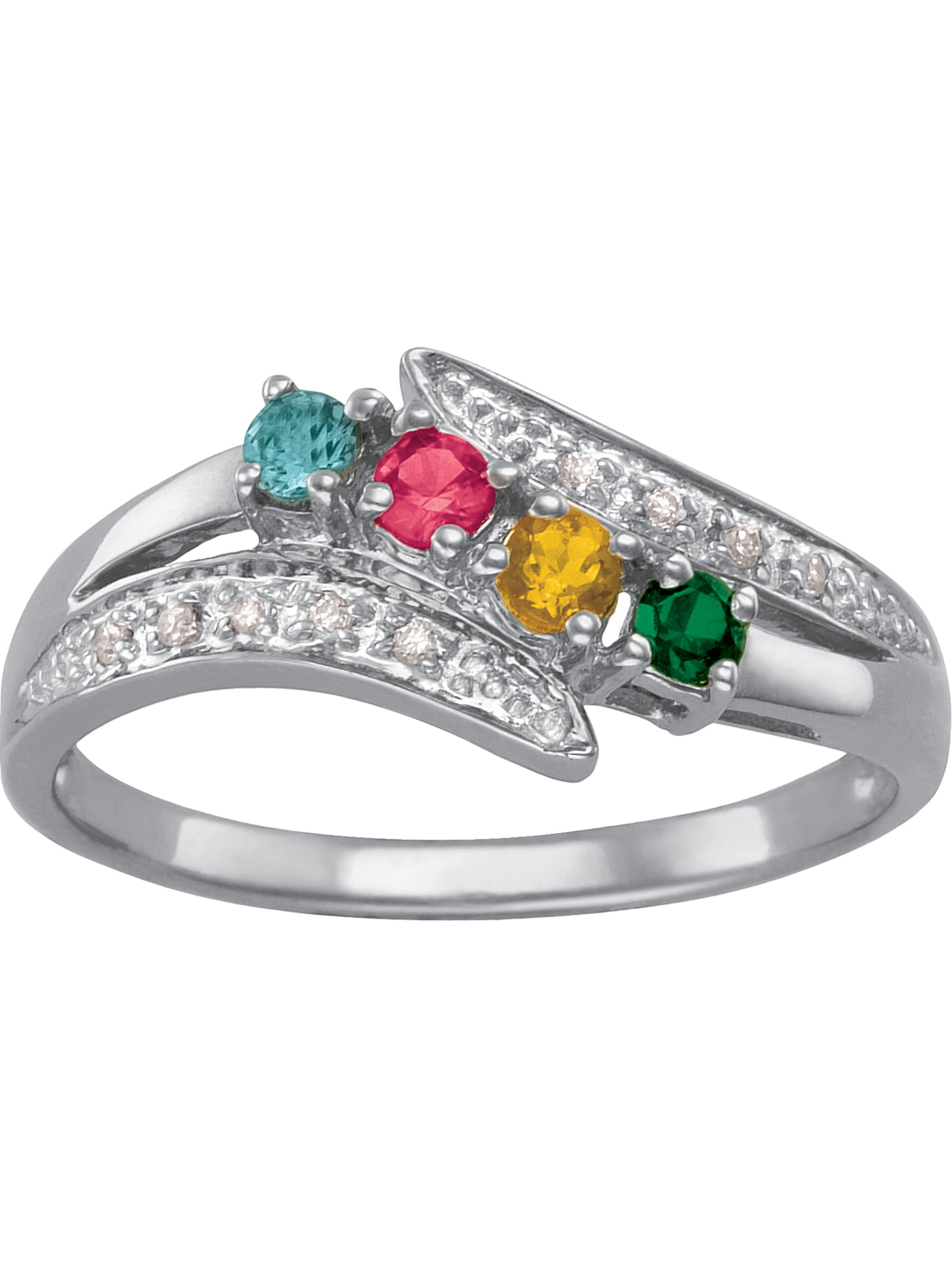 Family Mother/'s Ring Sterling Silver 1 to 5 Birthstones Moms Jewelry