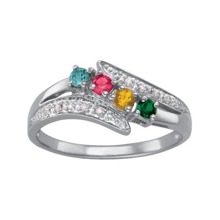 Keepsake Personalized Family Jewelry Birthstone Flourish Mother's Ring available in Sterling Silver, Gold and White Gold