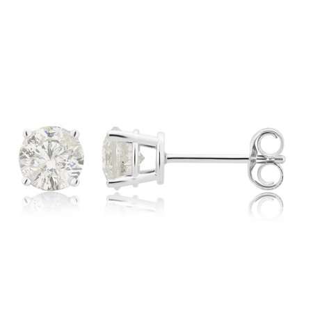 1 1/2 Carat T.W. diamond solitaire 14K White Gold stud earrings.