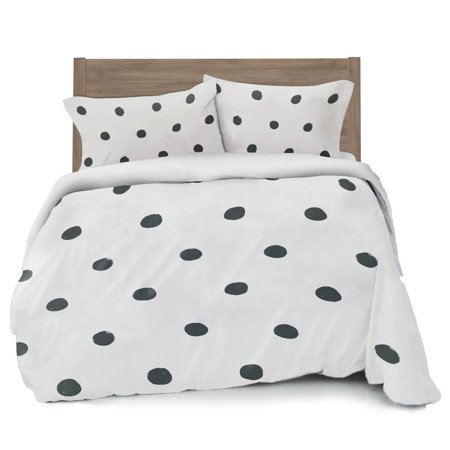 gray polka dot duvet cover full queen size bedding soft and wrinkle free white and grey. Black Bedroom Furniture Sets. Home Design Ideas