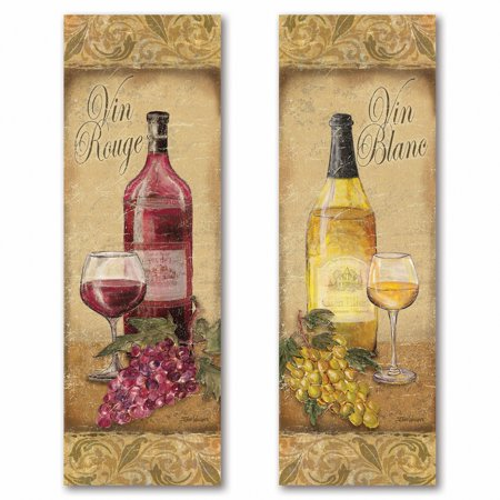 Gango Home Decor Vintage Tuscan White and Red Wine Bottle and Grape Kitchen Wall Art by Todd Williams; Two Beige 6x18in Unframed Paper Prints (Paper Only, No Frame) ()