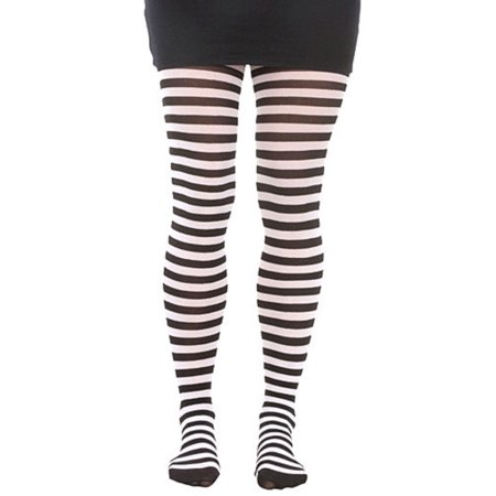Black And White Striped Tights Pantyhose School Girl Wednesday Addams Costume
