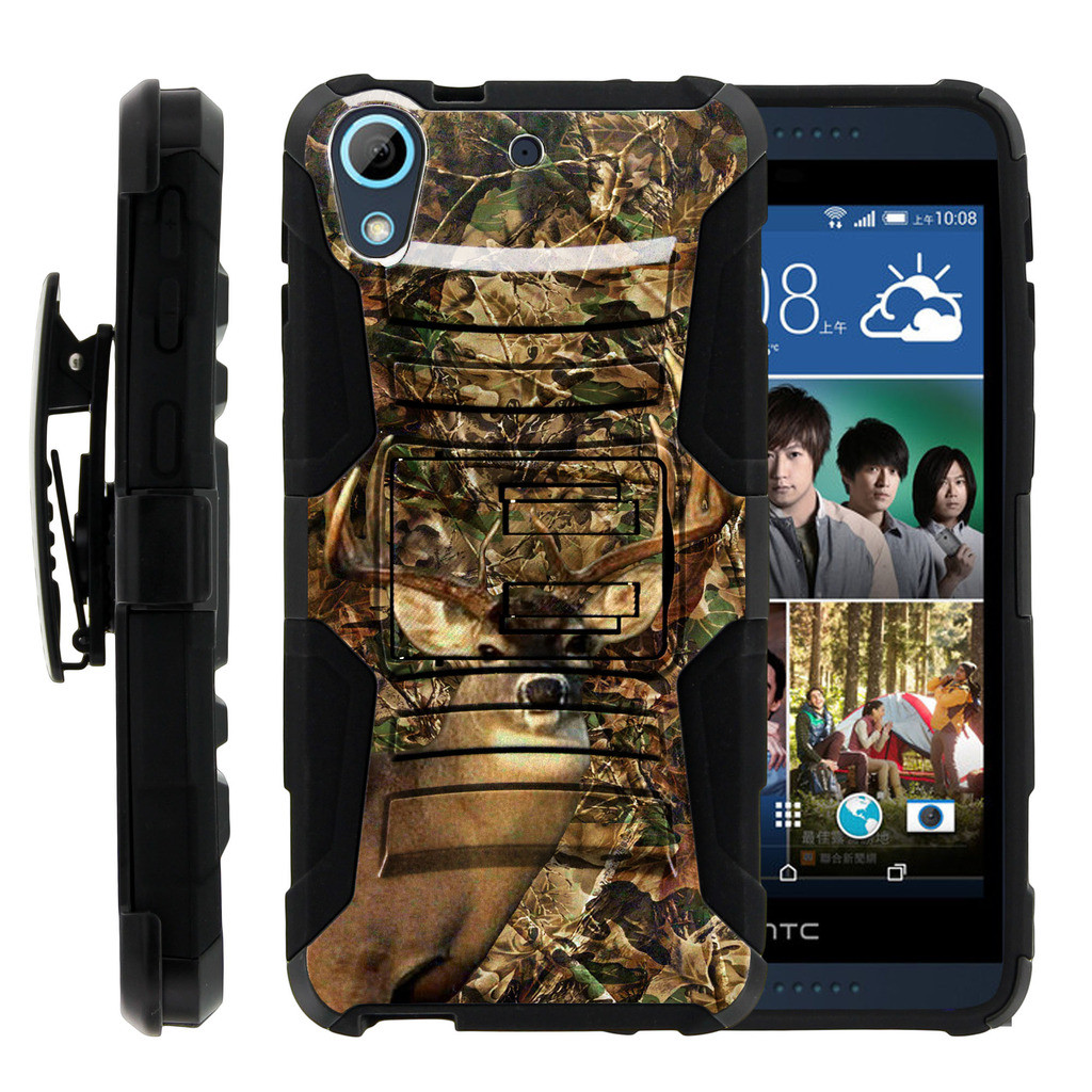 HTC Desire 626 Case | HTC Desire 626 Holster Case [ Clip Armor ] HTC 626 Dual Layered Case with Kickstand + Belt Clip - Deer Hunting Leaves