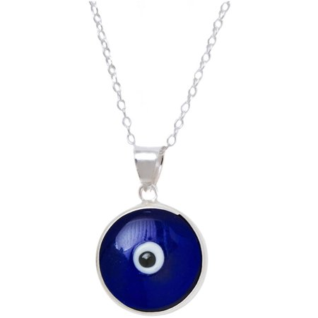Sterling Silver Dark Blue Evil Eye Glass Pendant Necklace