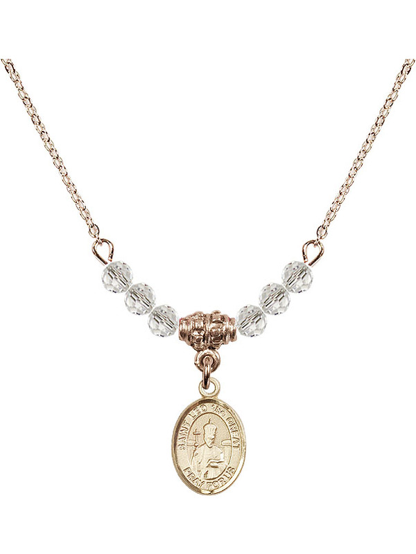 Bonyak Jewelry 18 Inch Rhodium Plated Necklace w// 4mm Jet Birth Month Stone Beads and Saint Medard of Noyon Charm
