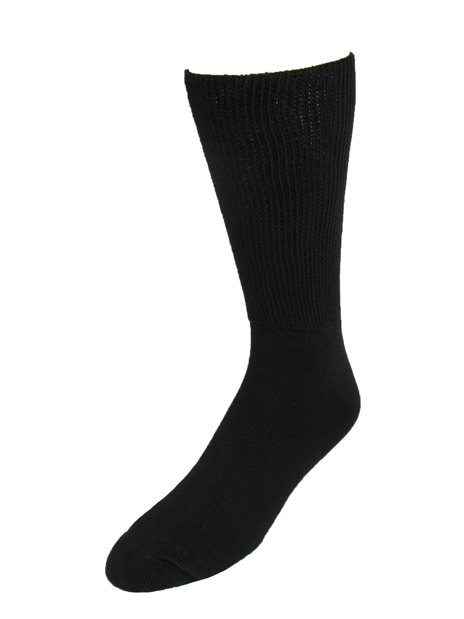 Size Large Mens Cotton Mid Calf Athletic Socks, Black